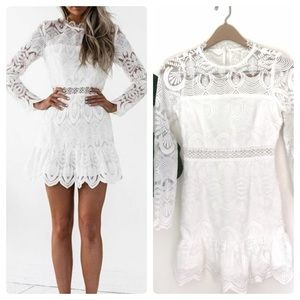 Xenia Boutiques Long Sleeve White Lace Dress! NWT!